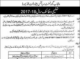 Punjab Government Servant Benevolent Fund Scholarships 2017-2018 Form Download