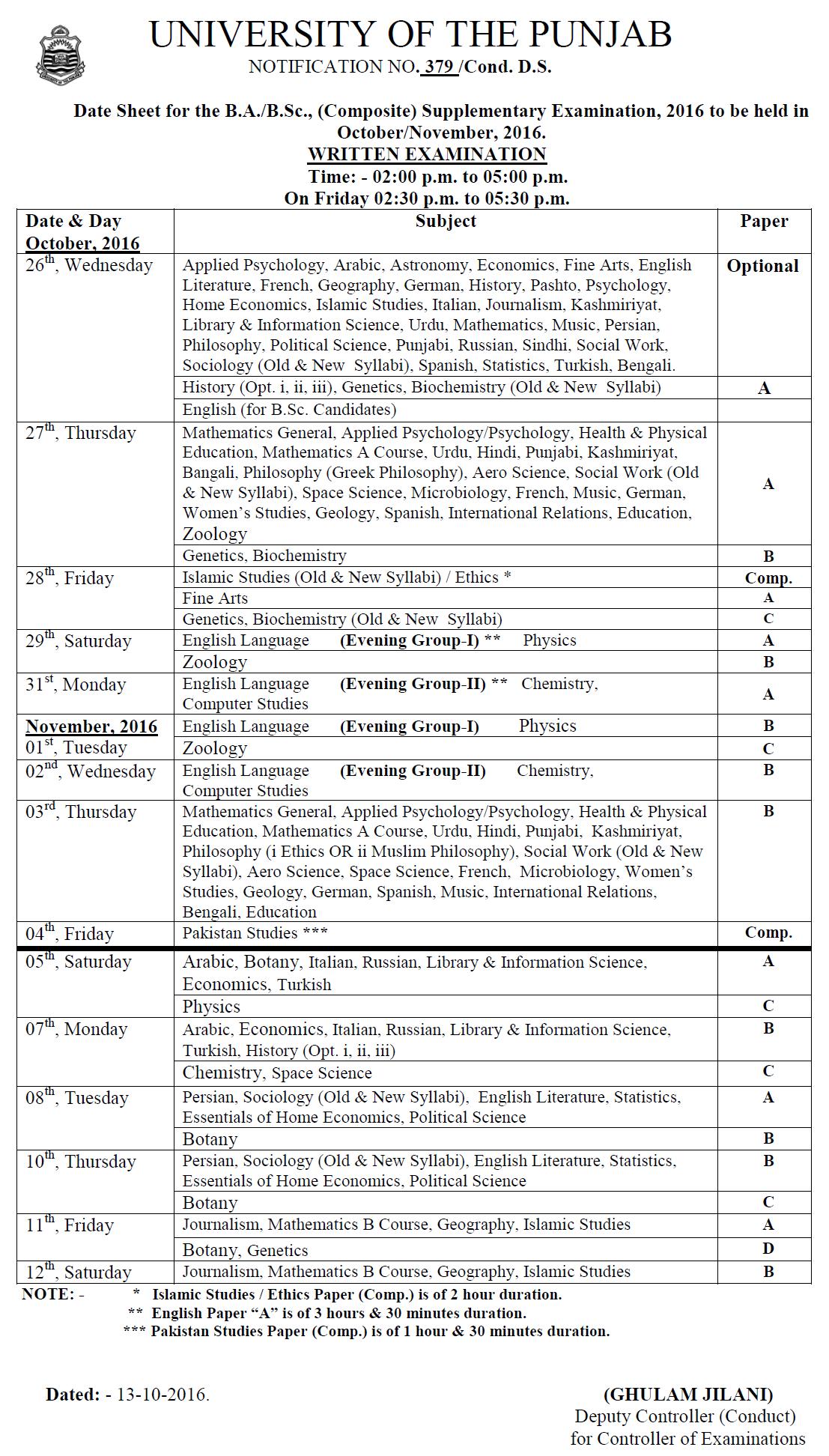 Punjab University BA BSc Supplementary Date Sheet 2016