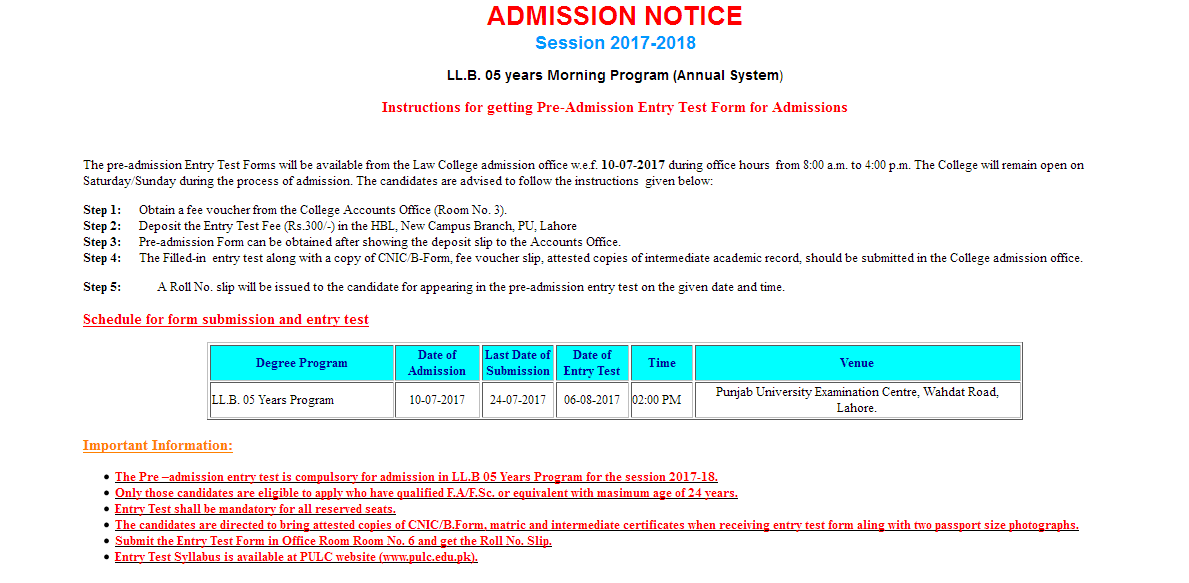 Punjab University Law College LL.B Admission 2017