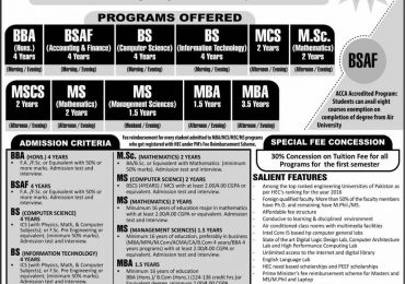 Air University Multan Campus Admission 2018 Form, Entry Test Result
