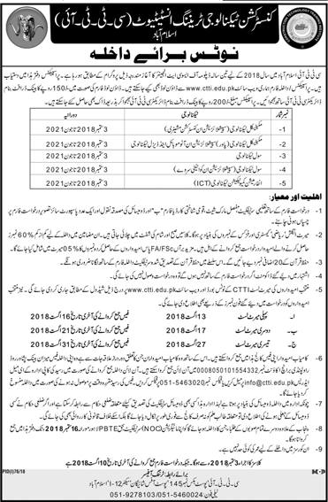 CTTI Islamabad Admission 2018 Form Merit List