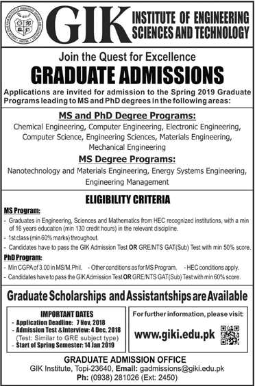 GIKI Graduate MS, PhD Admissions 2018 Entry Test Date Result Form