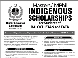 HEC Indigenous Scholarship 2019 Masters/MPhil Application Form Last Date
