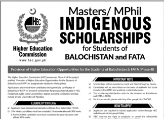 HEC Indigenous Scholarship 2019 Masters/MPhil Application Form Last Date