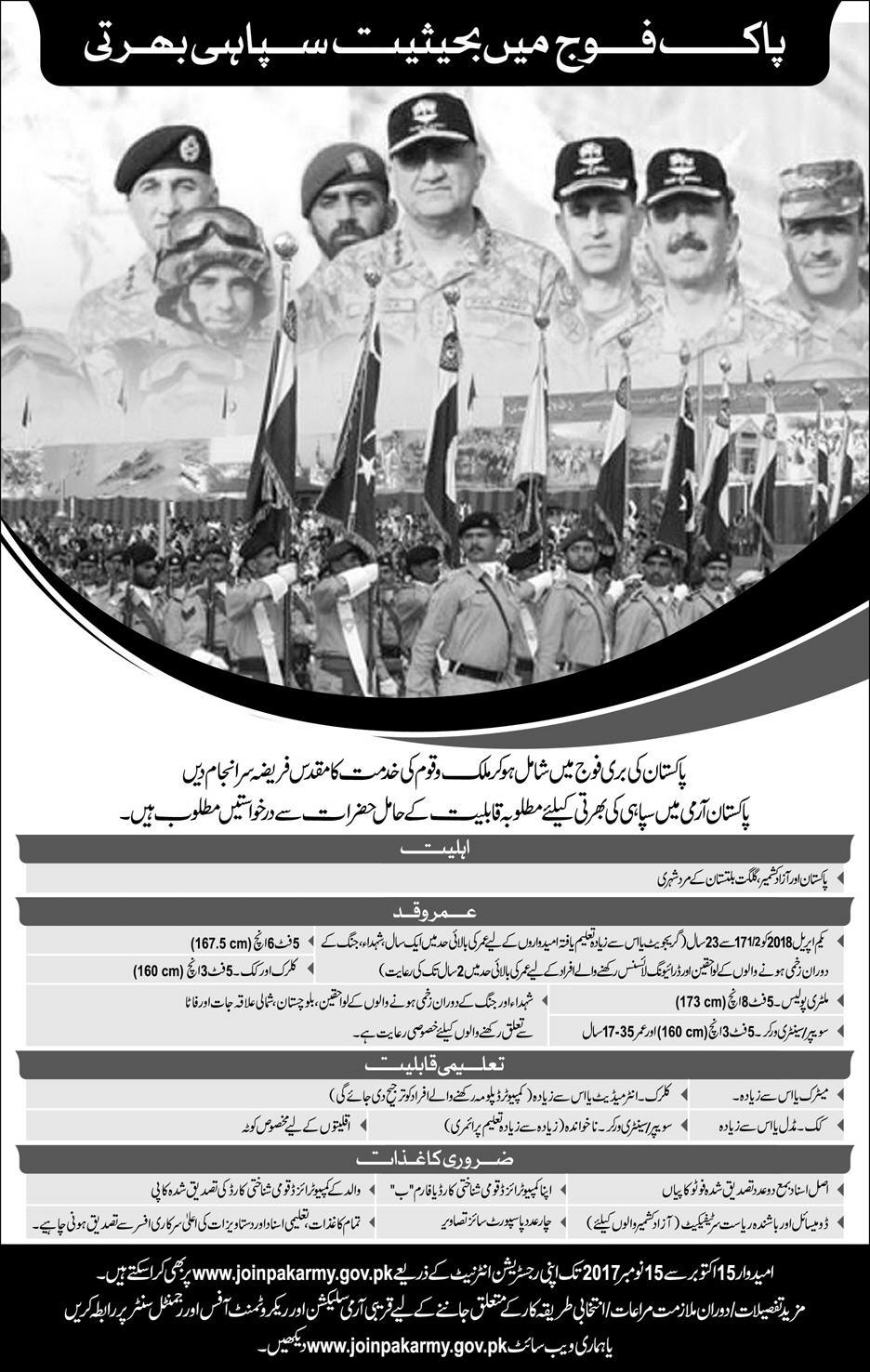 Join Pak Army As A Soldier 2017 Online Registration