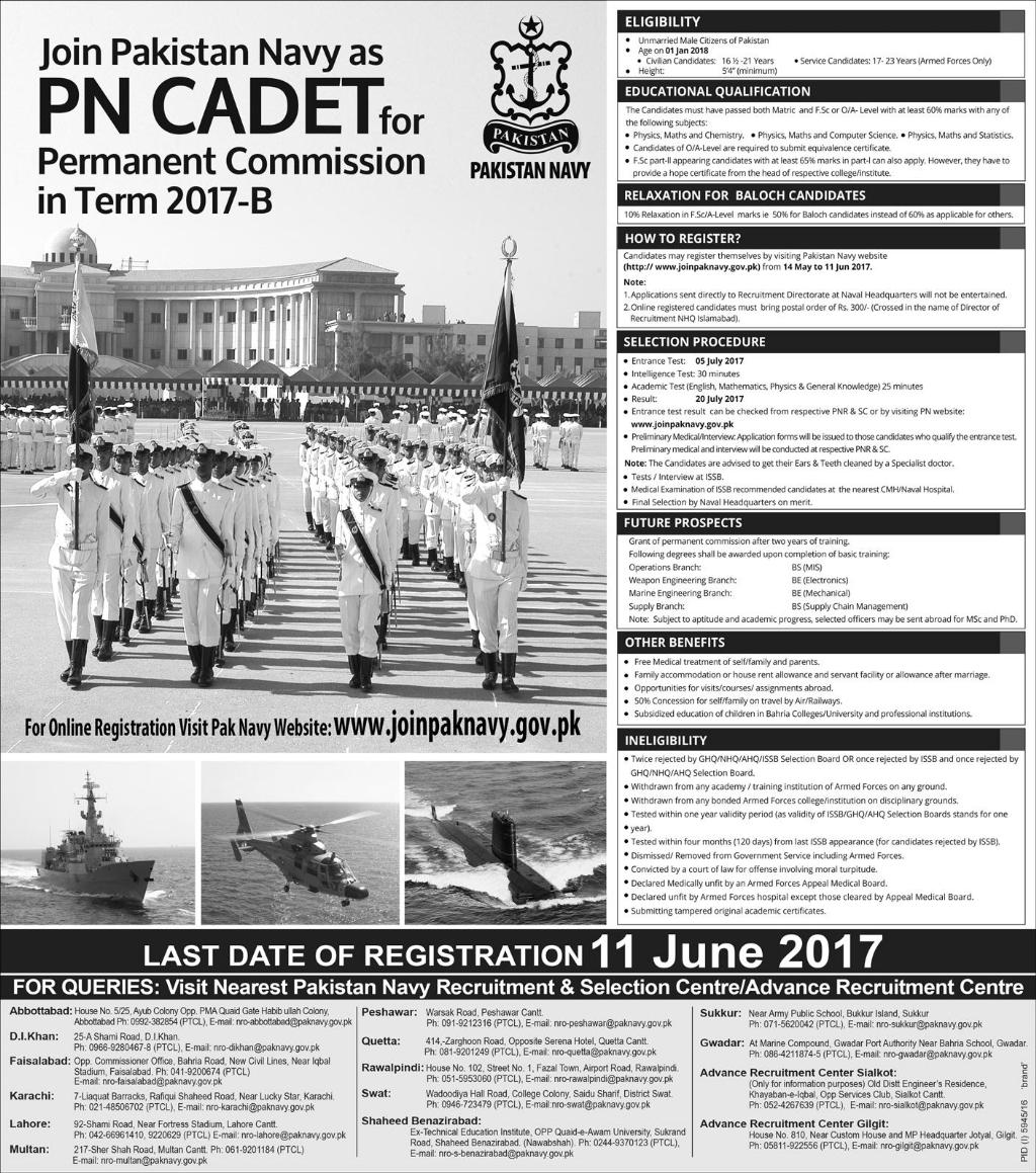Join Pak Navy as PN Cadet Term 2017 B Permanent Commission Online Apply