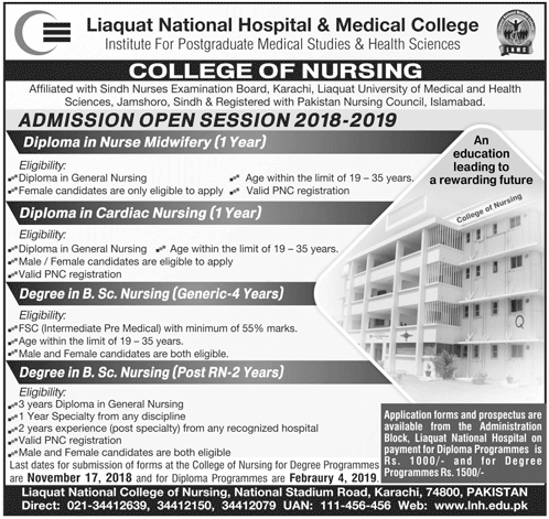 Liaquat National Hospital Nursing Admission 2018