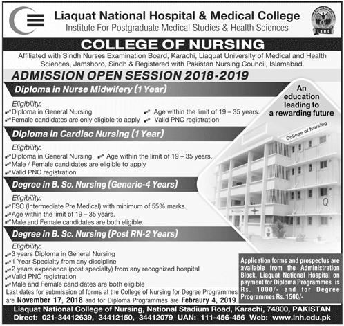 Liaquat National Hospital Nursing Admission 2018