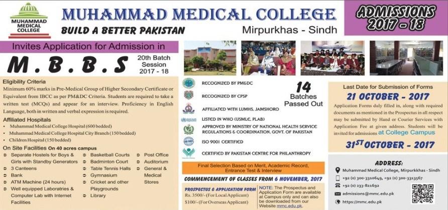 Muhammad Medical College Mirpurkhas Admission 2017 Form, Last Date