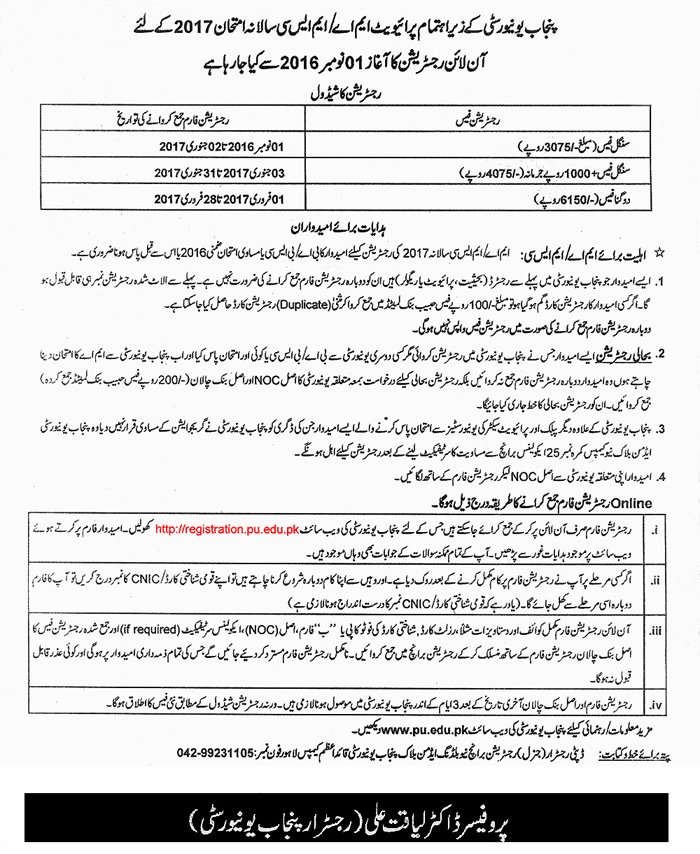 Punjab University PU MA, MSc Part 1 Private Registration 2017