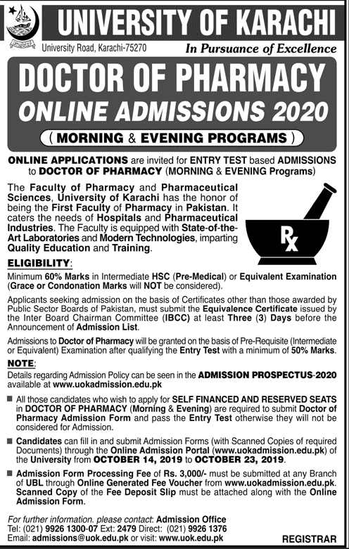 University of Karachi UOK Pharm D Admissions 2020