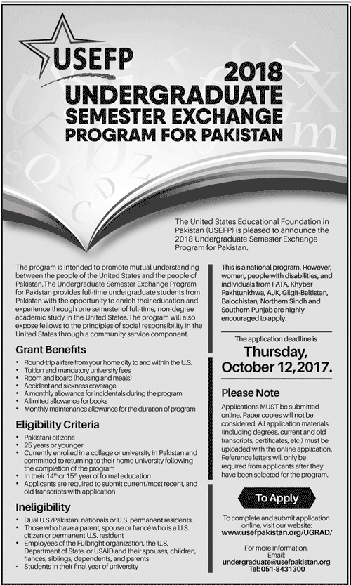 USEFP Undergraduate Semester Exchange Program For Pakistan 2018 Apply Online