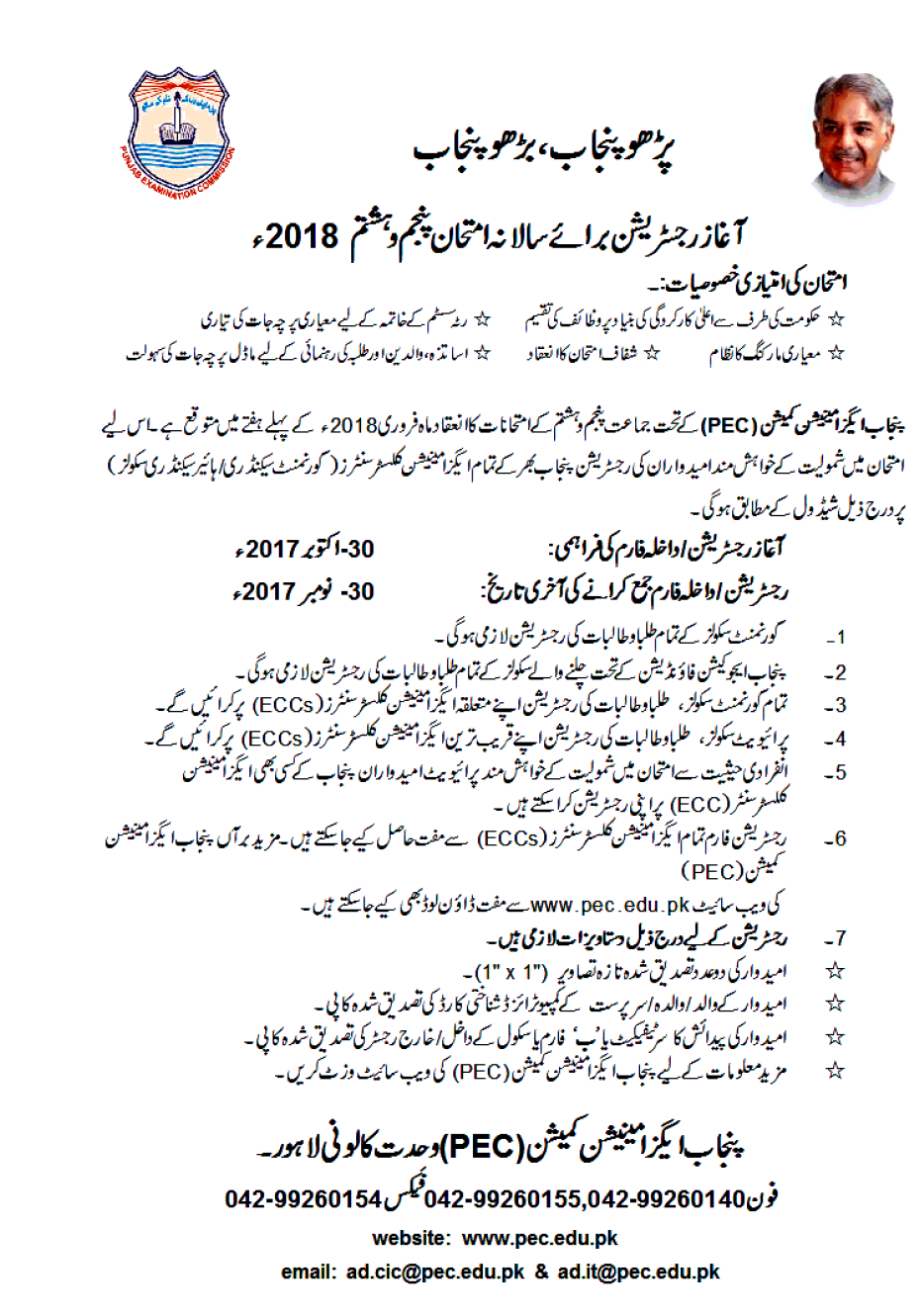 5th, 8th Class Admission Form 2018 PEC Download Documents Required
