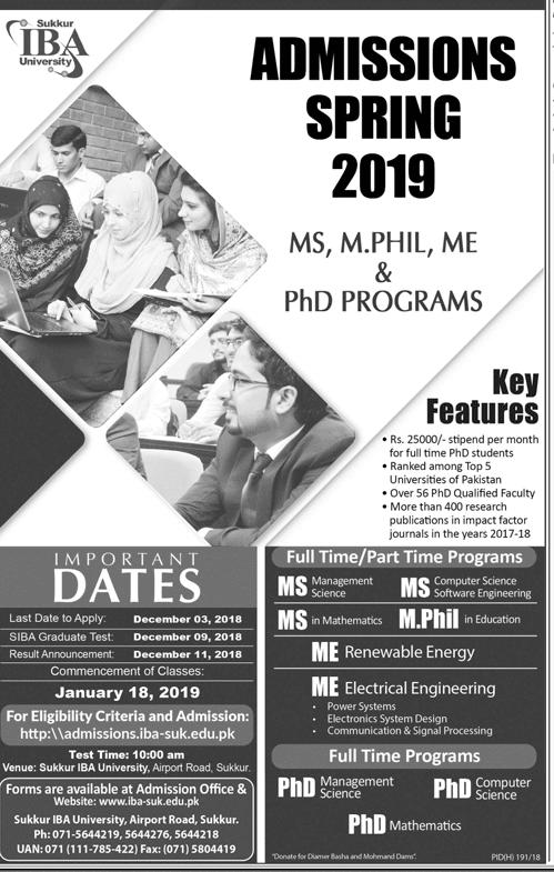 IBA Sukkur MS, PhD Spring Admission 2019
