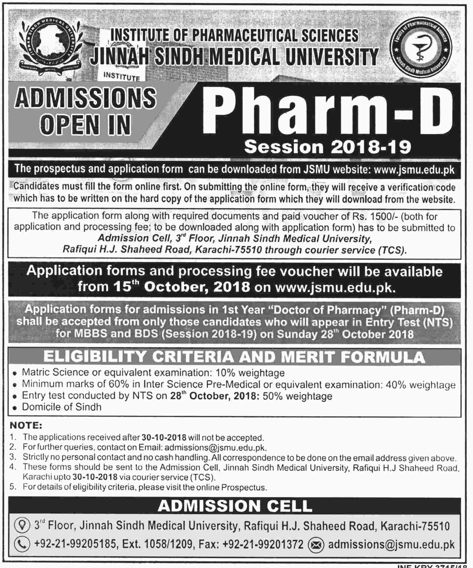 Jinnah Sindh Medical University Online Admission Form Pharm D 2018