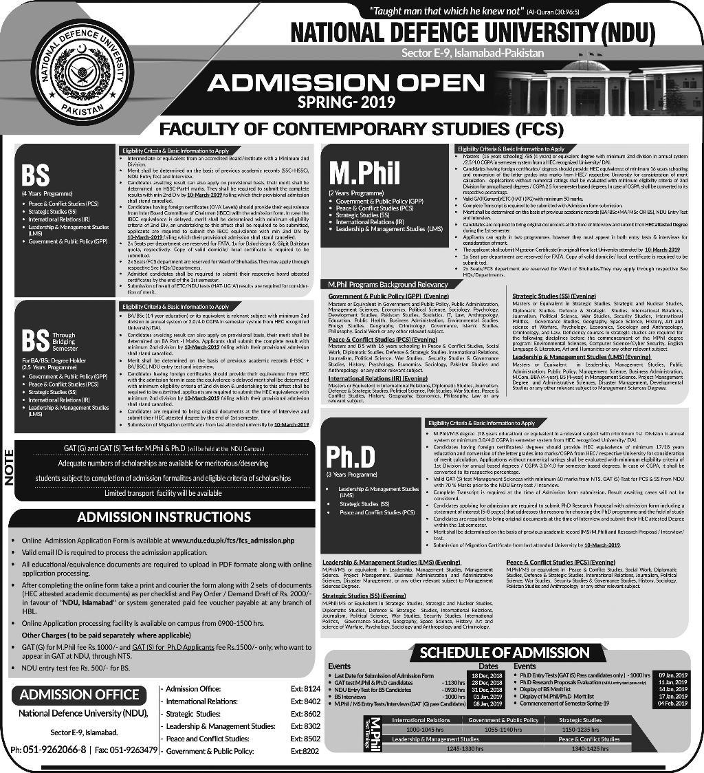 National Defence University NDU Islamabad Spring Admission 2019National Defence University NDU Islamabad Spring Admission 2019
