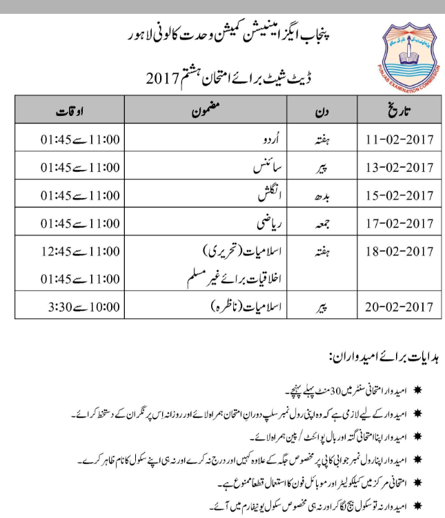 PEC 8th Class Exams Date Sheet 2017