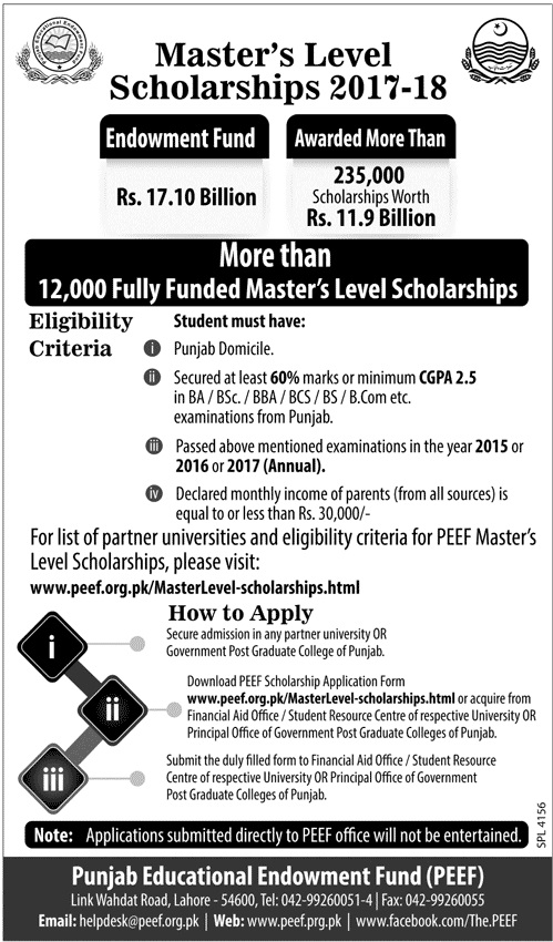 PEEF Master Level Scholarship 2017-2018 Application Form Online Last Date