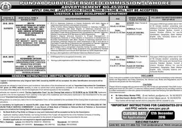 PPSC Veterinary Officer Jobs 2016 Apply Online Form, Advertisement, Last Date