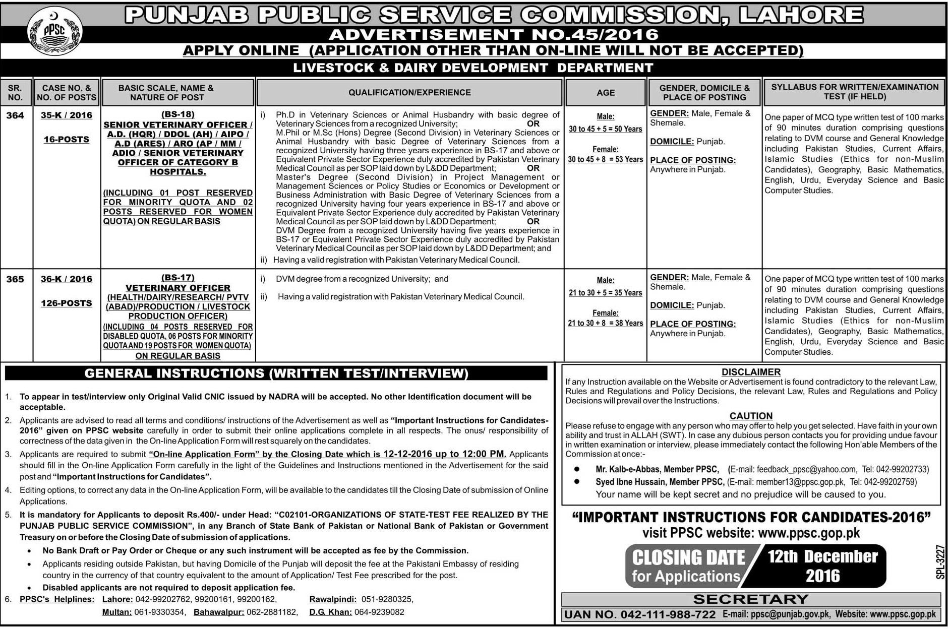 PPSC Veterinary Officer Jobs 2016 Apply Online Form, Advertisement, Last Date