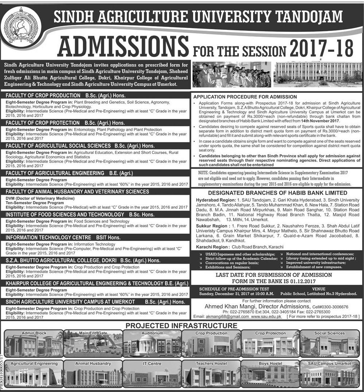Sindh Agriculture University Tandojam Bachelor Admissions 2017-2018