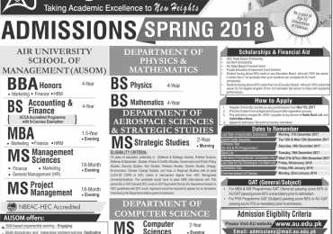 Air University Islamabad Spring Admissions 2018
