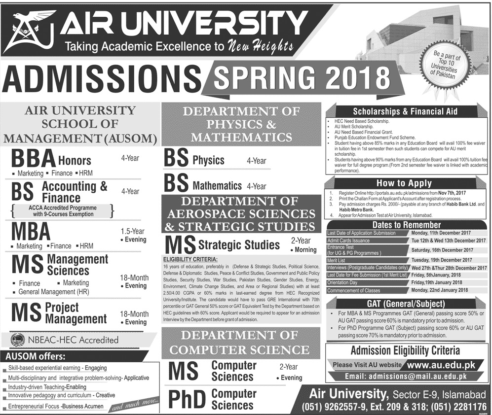 air university islamabad spring admissions 2018  merit list