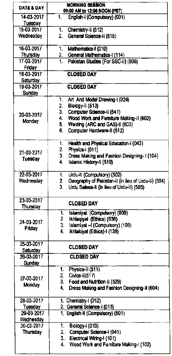 FBISE Federal Board 9th, 10th Class Date Sheet 2017