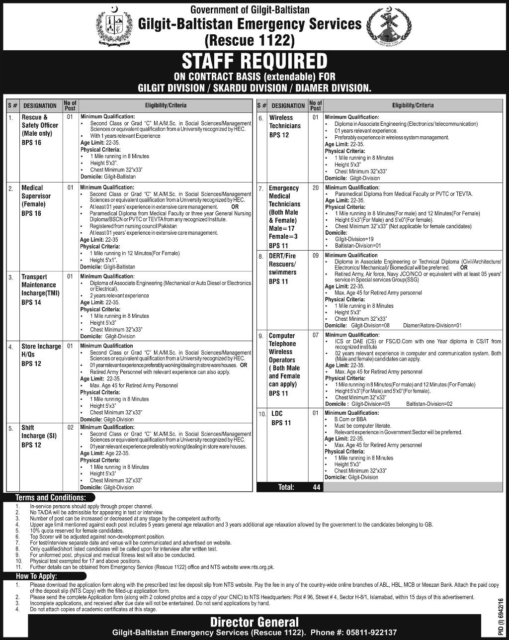 Rescue 1122 Jobs In Gilgit Baltistan 2017 NTS Application Form, Eligibility