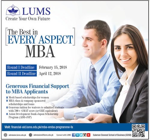 LUMS MBA Admission Requirement Procedure, Eligibility And Schedule 2018