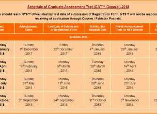 NTS GAT Test Schedule 2018, 1