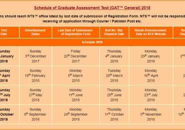 NTS GAT Test Schedule 2018