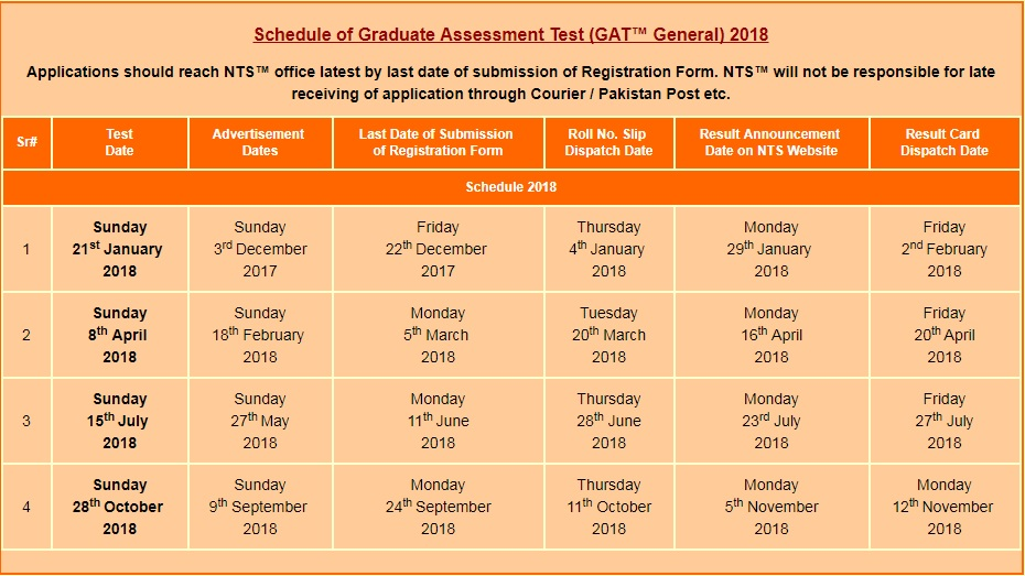 nts gat test schedule 2018   gat general  subject test dates