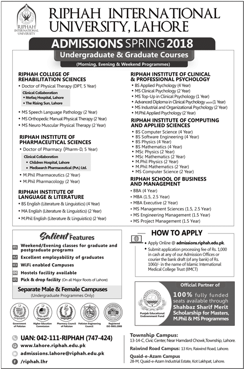 Riphah International University Spring Admission 2018