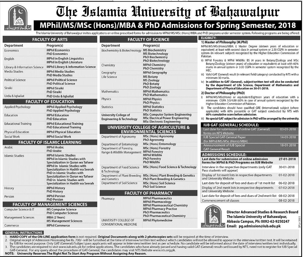 The Islamia University of Bahawalpur IUB MPhil, MS, PhD Admissions 2018 Form