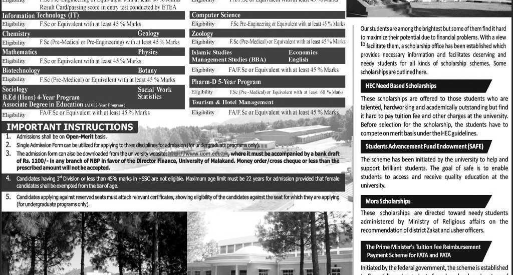 University of Malakand UOM KPK Admissions 2017