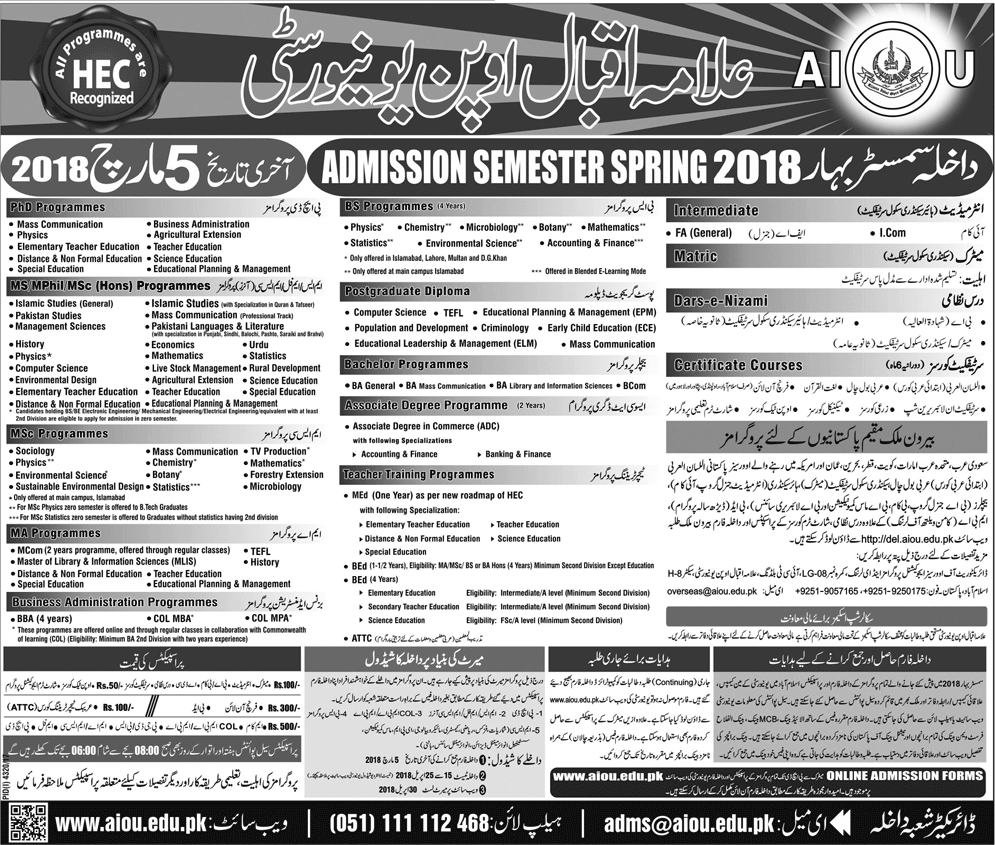 Allama Iqbal Open University MSMPHIL, PhD Admission 2018