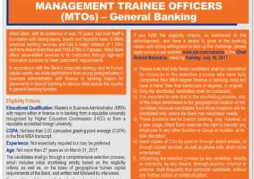 Allied Bank Management Trainee Officer MTO Jobs 2017 Salary, Sample Paper