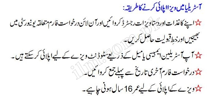 How to apply Australia Student Visa For Pakistan In Urdu