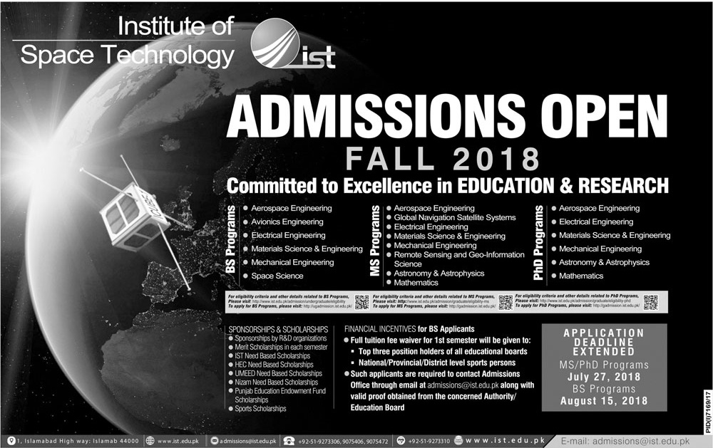Institute Of Space Technology IST Undergraduate Admissions Fall 2018 Form Online