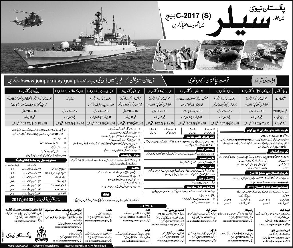 Join Pakistan Navy Sailor Batch C Jobs 2017 Online Registration Last Date