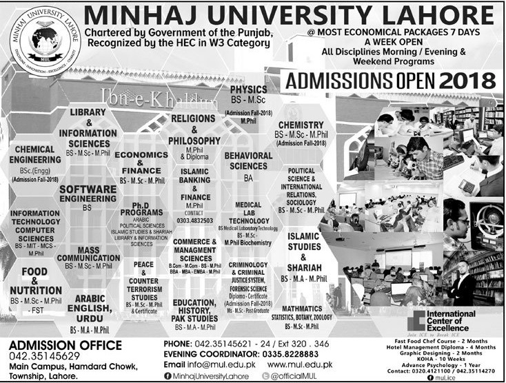 Minhaj University Lahore MUL Admission 2018