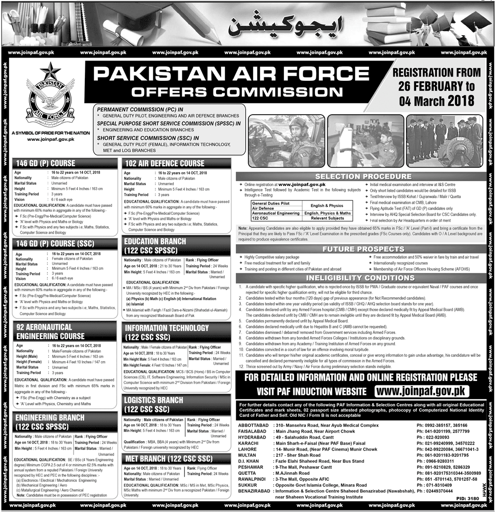 PAF Commission Jobs 2018 Online Registration GD, Non GD, CAE, Air Defence Courses