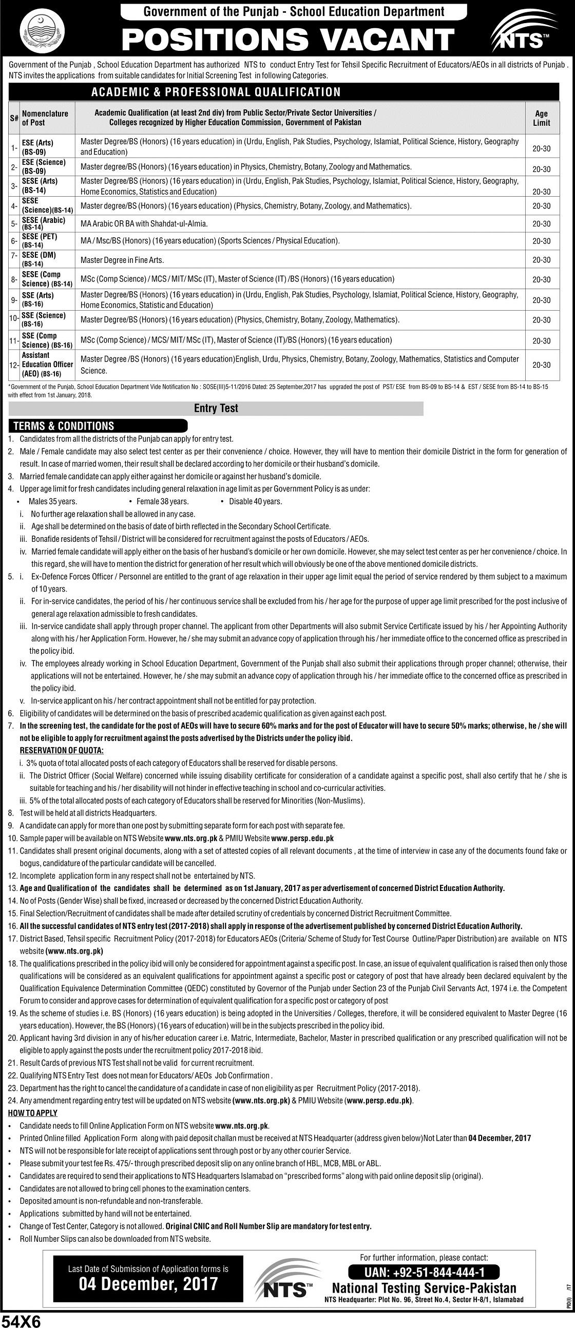Punjab Educators Jobs 2017-2018 Teachers NTS Application Form Download