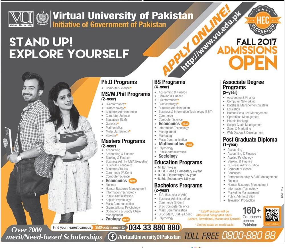 Virtual University Of Pakistan Admissions 2017 Form, Last Date