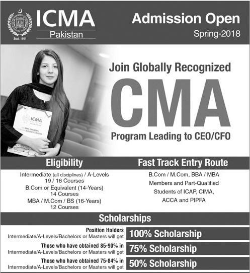 ICMA Pakistan Spring Admissions 2018 Online Registration