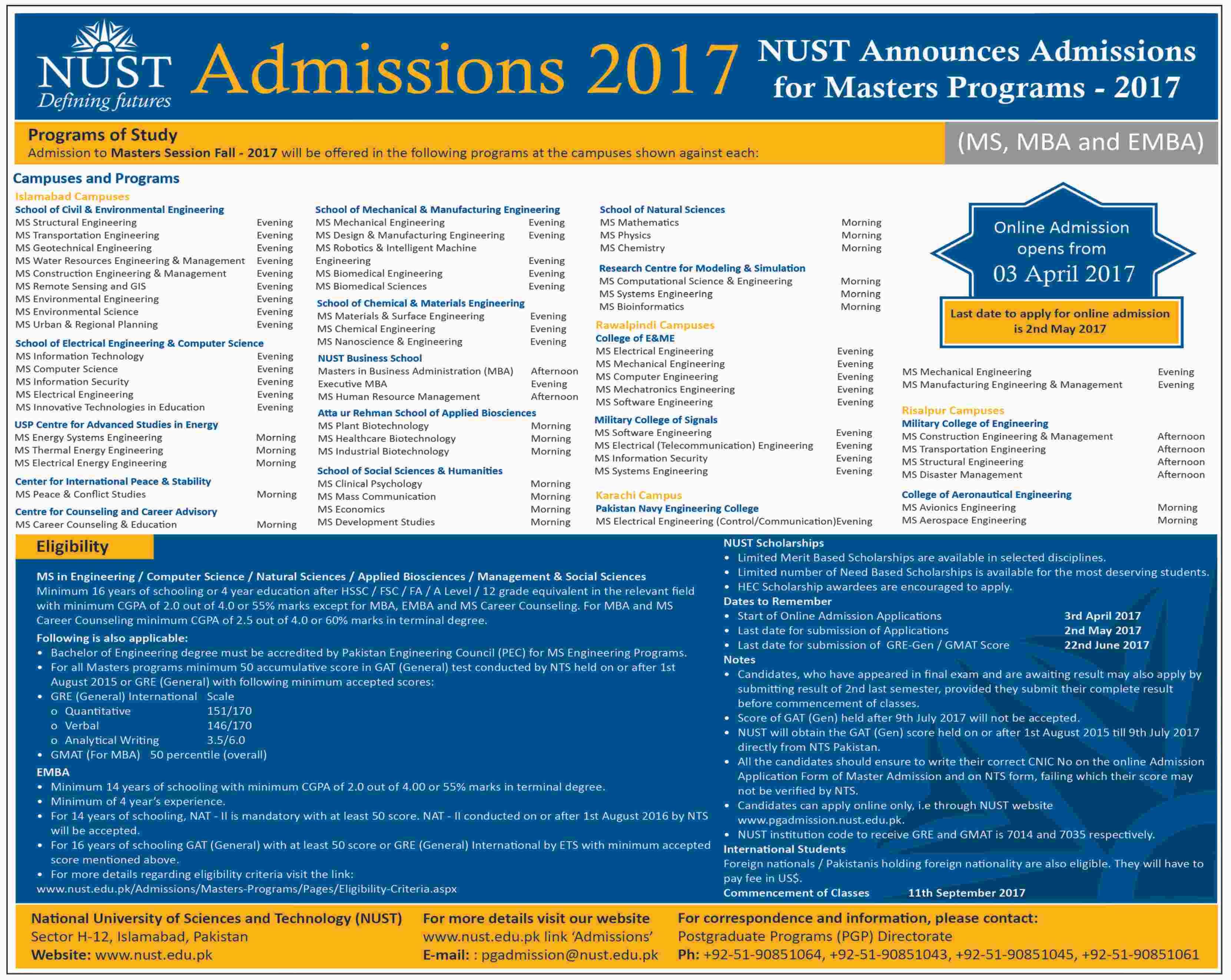 NUST University PhD and Masters Admission 2017 Form, Last Date