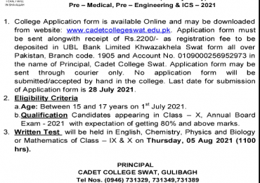 Cadet College Swat 1st Year Admission 2021 Last Date