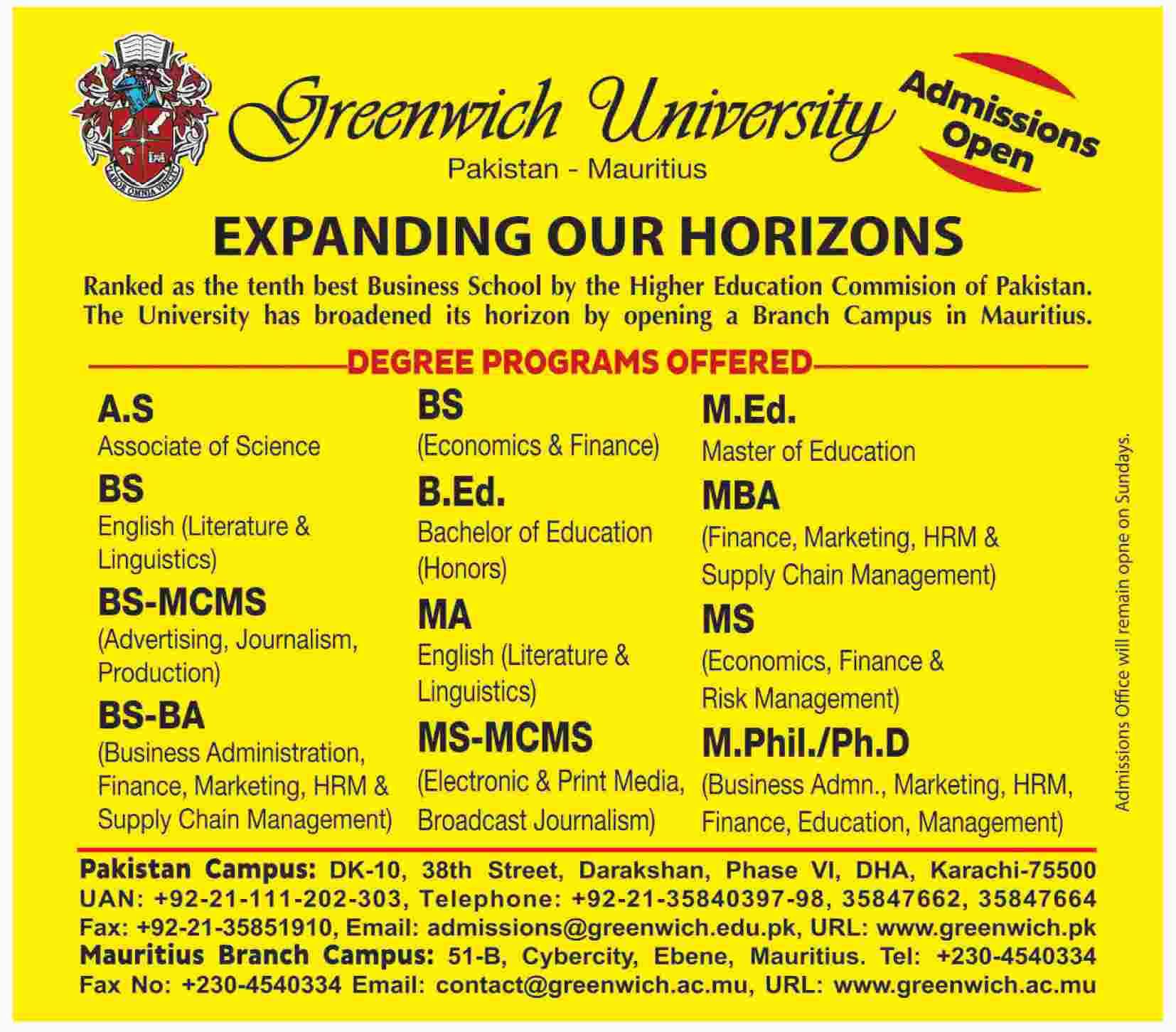 Greenwich University Karachi Admissions 2018 Last Date Apply Online