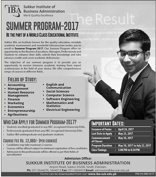 IBA Sukkur Summer Programs 2017 Admission Form Download Online